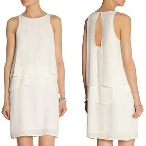 TIBI White Crepe Layered Halter Dress